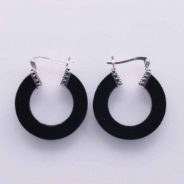 Earring Round 25mm. Black...