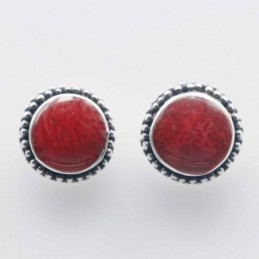 Earring Round 9mm. Coral