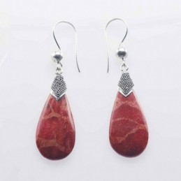 Earring Drop 13x34mm. Coral