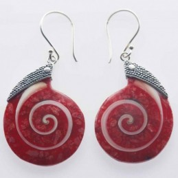 Earring Drop 22x31mm. Coral