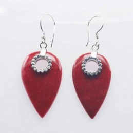 Earring Drop 17x33mm. Coral
