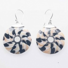 Earring Round 27mm.  Mix Shell