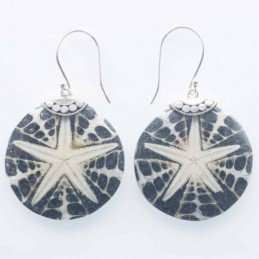 Earring Round 25mm. Mix Shell