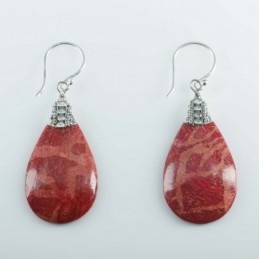 Earring Drop 18x34mm. Coral