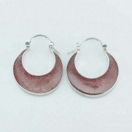 Earring Oval hand 20mm. Coral