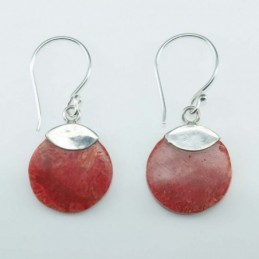 Earring Round 13mm. Coral