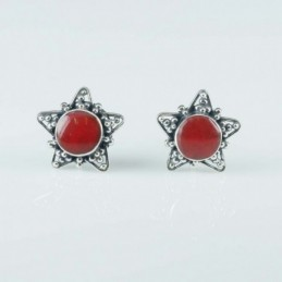 Earring Star 10mm. Coral
