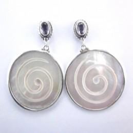 Ea Round Spirals MOP Shell