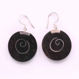 Earring Round Wood