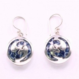 Earring Round Blue Shell