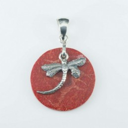 Pendant Round 30mm. Coral