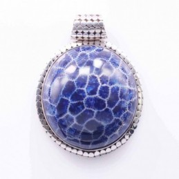 Pendant Round 41mm. Blue Coral