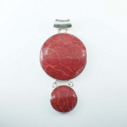 Pendant Round 15mm+26mm. Coral