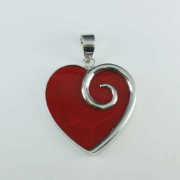Pendant Heart 27x30mm. Coral