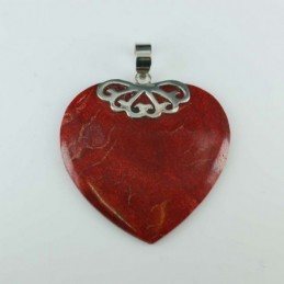 Pendant Heart 30x47mm. Coral