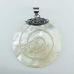 Pend Round Spiral MOP Shell