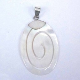 Pend Oval Spiral MOP Shell