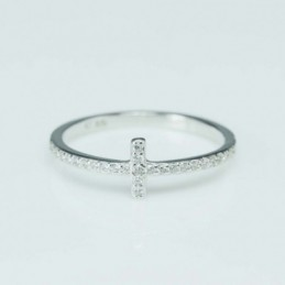 Ring Cross 6mm. Circonia
