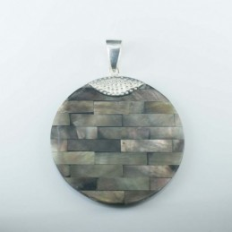 Pendant Round Black MOP Shell
