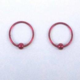 Ea Hoop Ball 8mm. Cherry color