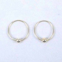 Ea Hoop Ball 8mm. Gold Plated