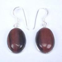 Earrings Red Tiger Eye Stone